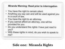 Miranda Warning Rights Amp Phonetic Alphabet Card Military Sheriff Police