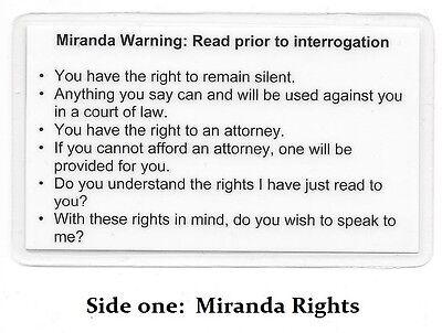 Miranda Warning Rights Phonetic Alphabet Card Military Sheriff Police Ebay