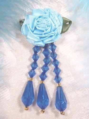 VD1 BLUE ROSE FLOWER DANGLE BEADED APPLIQUE