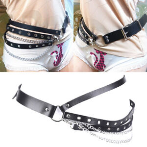 Punk-PU-Leather-Belts-Women-Rock-Buckle-Chain-Waistband-Waist-Belts-AdjustableWH