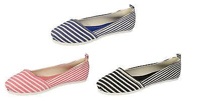 Damen F80039 Gestreift Slipper Leinen Schuhe in Schwarz Marineblau/Pink von