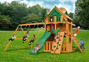 Outdoor Clubhouse Treehouse Swing Set W Standard Wood Roof Natural