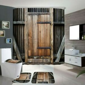 4Pcs-Set-Wasserfest-Duschvorhang-Vintage-Holz-Tuer-Toilettensitz-Abdeckung-Matte