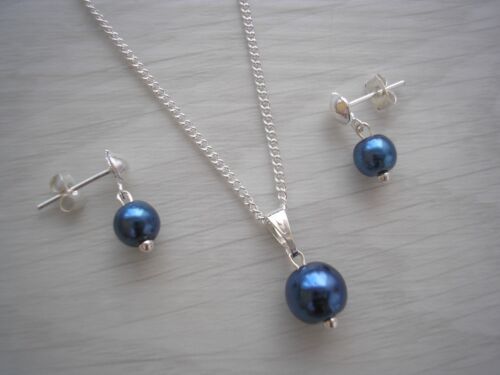 """Simple Coloured Pearl Necklace and Stud Earring Set 17/"""" Silver Plated Chain 15N"""