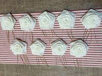 9 Ivory Lace Burlap Spray Flowers Rustic Wedding Table Decor Wreath Valentine