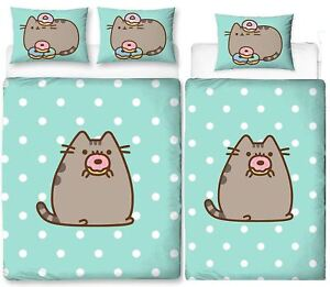 Pusheen-Doughnut-Single-Double-Reversible-Duvet-Cover-Bedding-Set