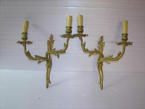 Jolie ancienne paire d applique en bronze style louis xv ebay