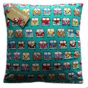 Details About Hand Made Vw Camper Mint Green Fabric Cushion Cover