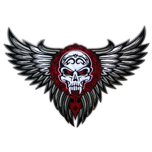 VEGASBEE® LARGE WINGED SKULL WINGS TRIBAL TATTOO BIKER JACKET EMBROIDERED PATCH