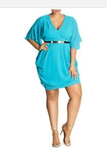d698451b195e1 City Chic Colored Faux Wrap Plus Size Dress in Peacock - Size 22 ...