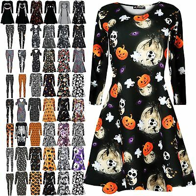 New Ladies Women Skull Bone Web Party Costume Spider Halloween Smock Swing Dress