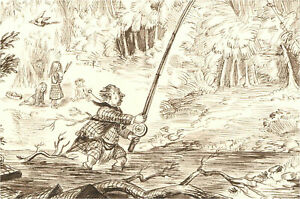 1866 Pen and Ink Drawing - Mr B. Fishing