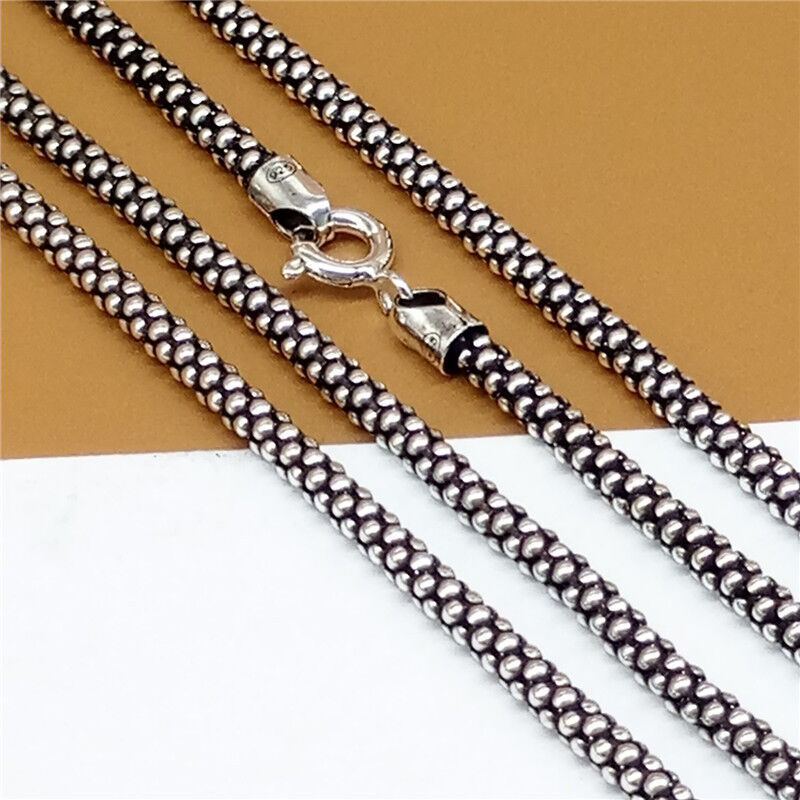 Sterling Silver Popcorn Chain Necklace Men Women Necklace 2.8mm 18 20 22 24 Inch