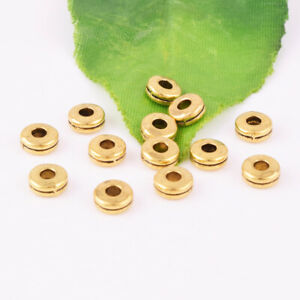 Wholesale-Round-Flat-No-Pattern-Gold-Spacer-Loose-Beads-Jewelry-Findings-DIY