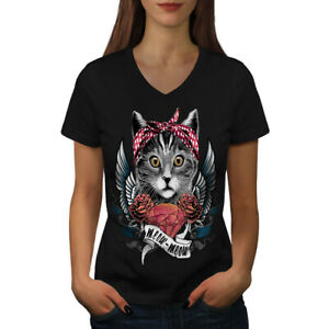 Wellcoda-Mignon-Coeur-ailes-meow-cat-femme-t-shirt-col-V-conception-graphique-Tee
