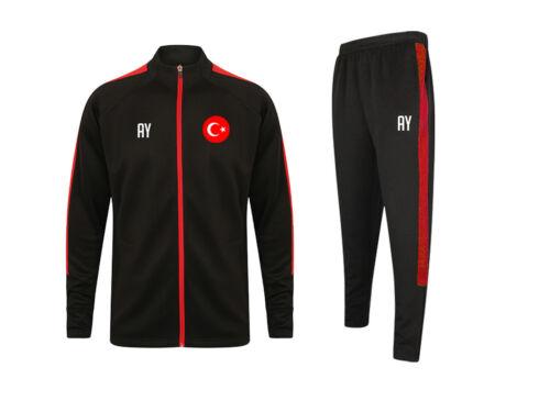 Name, Nummer oder Initialen Türkei Herren Sportanzug Schwarz//Rot mit Druck