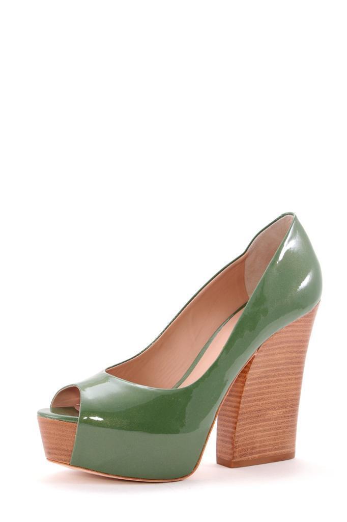 Pour Pump La Victoire Murphy Olive Green Pearlized patent Platform Pump Pour open toe peep b39d3d