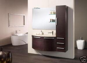 Dettagli su Mobile bagno Evolution rovere wengè lavabo 3 ante