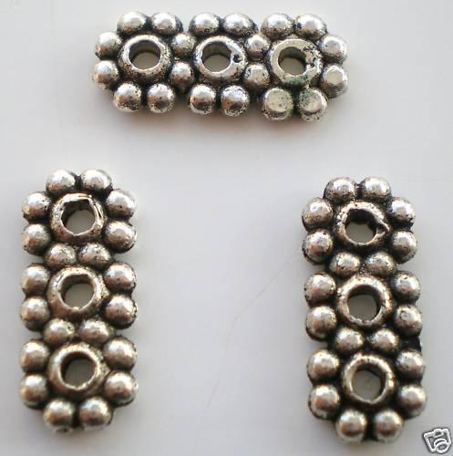 40 x Tibetan Silver Flower 3 hole Spacer Bar Lead Free