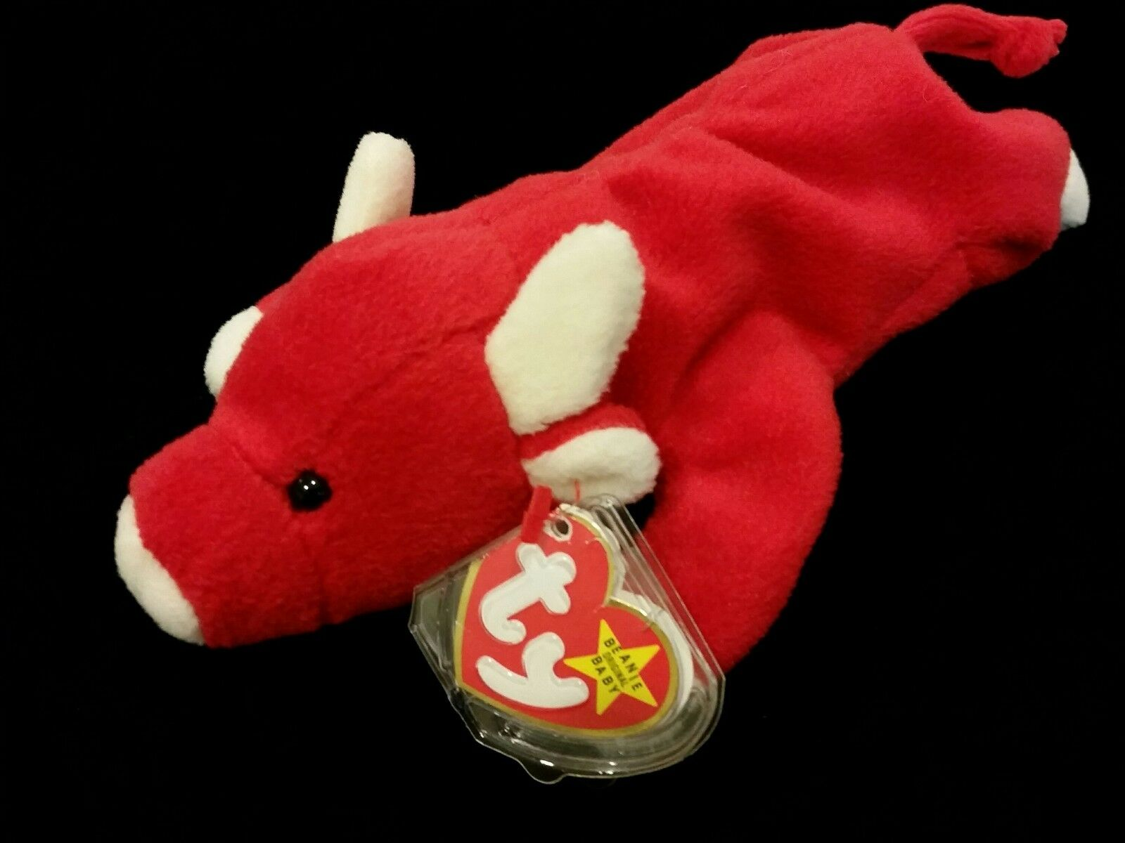VINTAGE Rare 1995 SNORT TY Beanie Baby Red Bull Style 4002 with Tags
