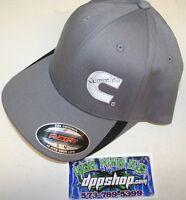 Cummins Hat Ball Cap Fitted Flex Fit Flexfit Stretch Cummings Gray White S/m