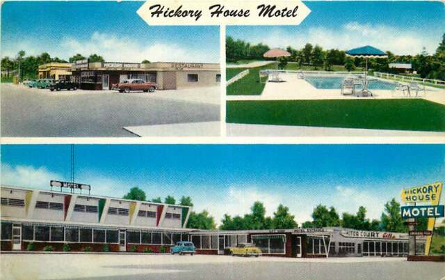 Af755 Vintage Linen Multiview Postcard Tower Court Cabins