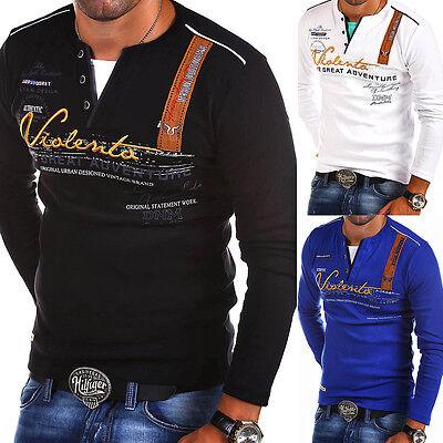 G.B.D. Herren V-Neck T-Shirt Slim Fit Poloshirt Longsleeve Weiß/Schwarz/Blau NEU
