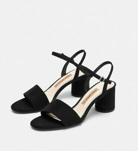 51f0f955515 Details about New Zara Black Blocked Heels Sandals Size 38. US 7.