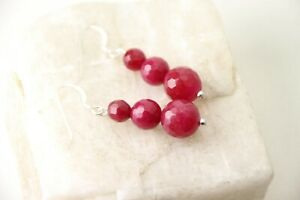 Jade-Ruby-Red-6-8-10mm-Faceted-Ball-Gemstone-925-Sterling-Silver-Earrings-1-5-034
