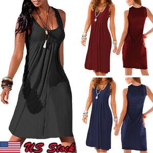 US-Womens-Summer-Cotton-Vest-Sleeveless-Sundress-Beach-Loose-Dress-Tank-Top-Size