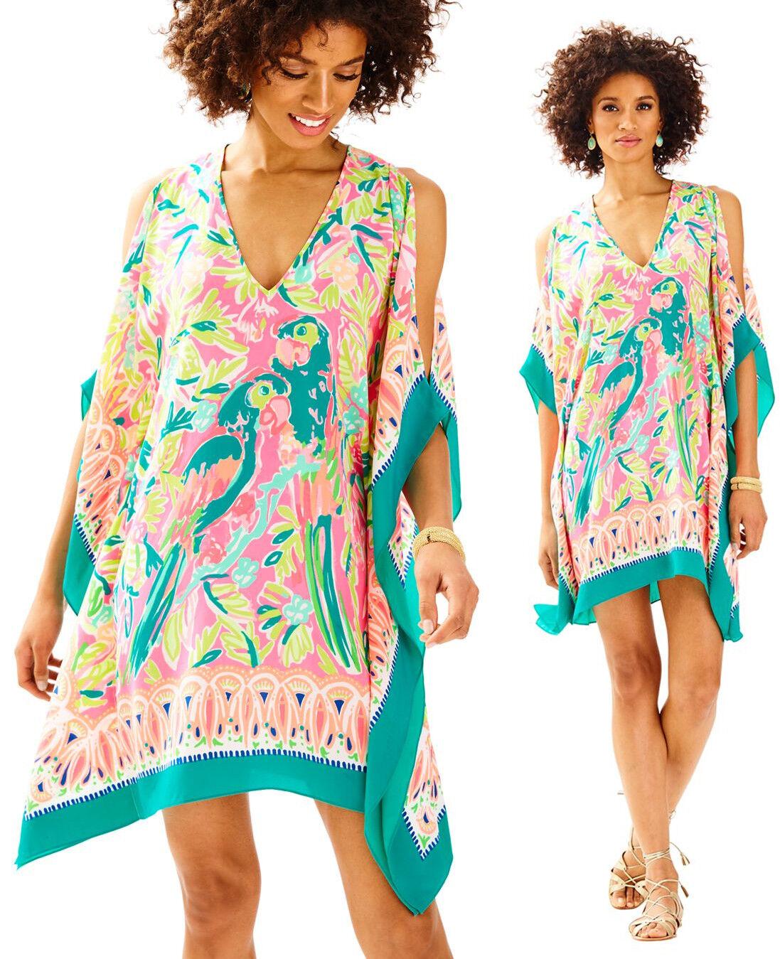 Lilly Pulitzer Atlin Tiki Pink Bird Of Paradise Engineered Silk Caftan Dress S M