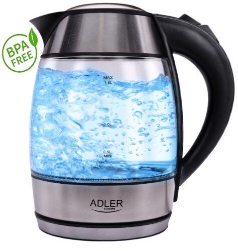 NEU Edelstahl Glas Wasserkocher 1,8 Liter 100/% BPA FREI LED Beleuchtung 2000 W