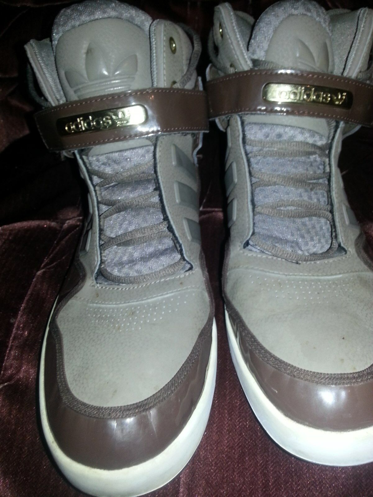 Adidas high top brown & tan size 13  rare vintage  sneakers Men shoes