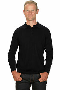 Ugholin-Pull-Homme-Cachemire-Fin-Col-Polo-Noir-Manches-Longues