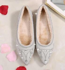 Silver Womens Loafers Pointed Toe Wedding Bridal Shoes Flat Plus
