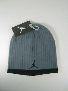 0edcbe063bafcc Nike Jordan Jumpman Youth Boys Knit Beanie Hat 8 20 Grey Black  20 ...