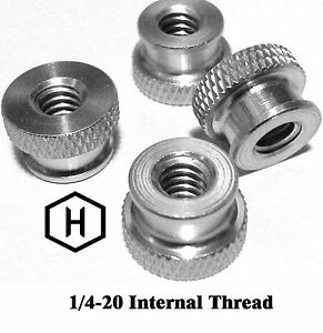 "1/4-20 x 3/8"" Knurled Thumb Nut (50 Pieces) Aluminum Silver Anodize Finish"