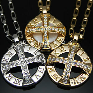 Sun-Celtic-Cross-Roman-Numeral-Pendant-Necklaces-Gold-Silver-Plated-Mens-Jewelry