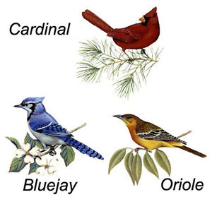 Bluejay Cardinal Oriole Select Bird And Size Waterslide Ceramic