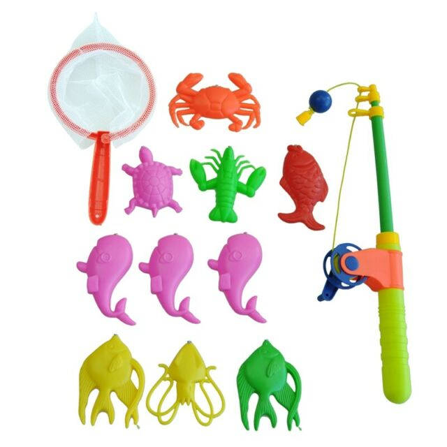 Magnetic Fishing Toy Rod Model Net 10 Fish Kid Children Baby Bath Time Fun O6N6