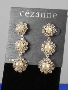 f5e08a2bfe Details about Cezanne Dillards Silver Crystal Faux Pearl Daisy Linear Drop  Earrings $32