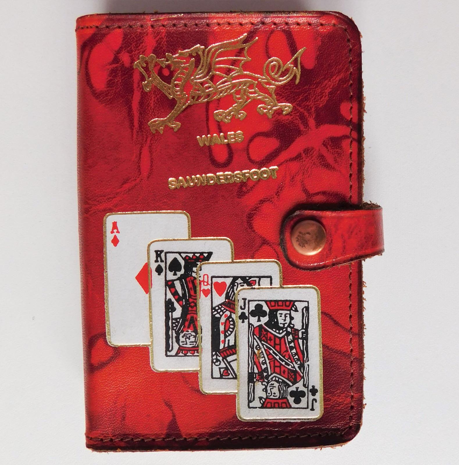 Tarjeta De Cuero Vintage Vintage Vintage caso Galés Dragón saundersfoot Gales sin abrir jugando a las cartas 6ada3a