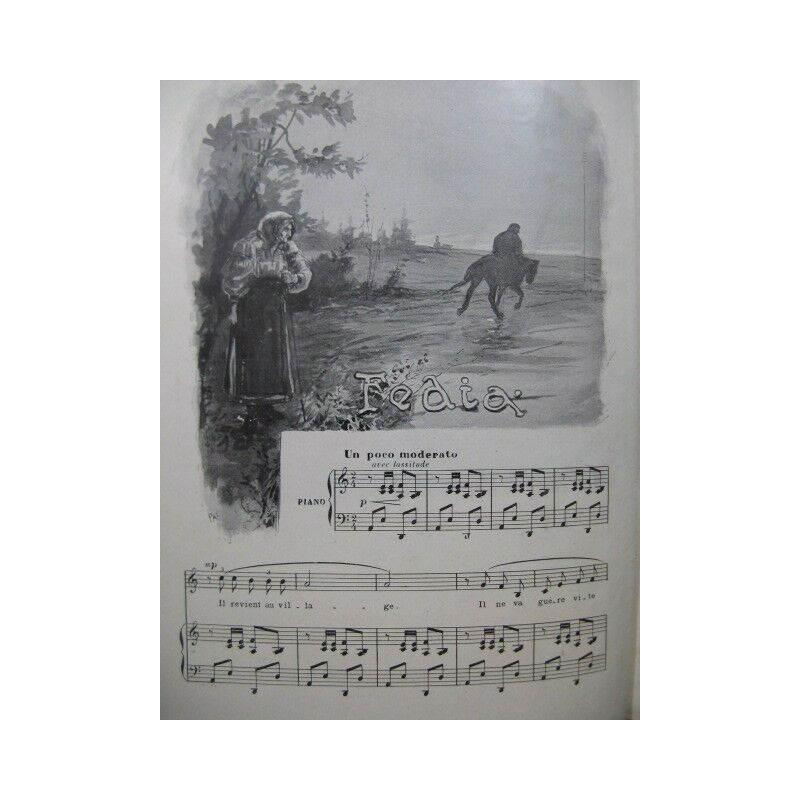 Die Ergänzung-illustration Musical Piano solo Chant 1897 Partitur -blatt Mu