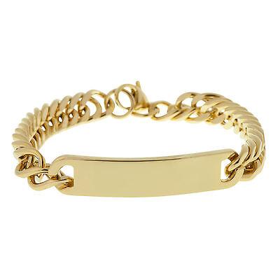Men's Gold Identity Bracelet in Solid S/Steel Engravable ID Plate by Urban Male