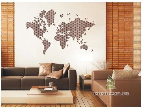 Points élégant carte du monde Mur Art Autocollant wall stickers autocollant décor-pd187