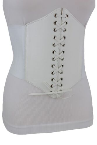 Women Fashion White Color Elastic Wide Band Waist Corset Belt Plus Size M L XL