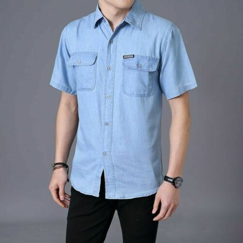 Men Denim Shirts Cotton Working Jean Top Loose Casual Short Sleeve Plus Size YM0