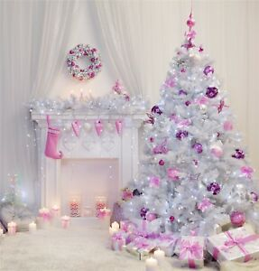 the best attitude 3c217 e4fcf Details about Pink & White Christmas Tree Indoor Photography Backdrop Decor  Studio Props Photo