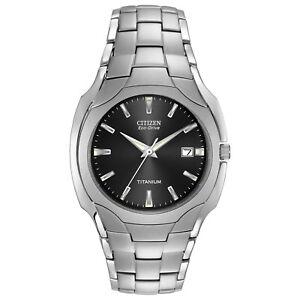 Citizen-Eco-Drive-Men-039-s-Black-Dial-Titanium-Bracelet-38mm-Watch-BM6560-54H