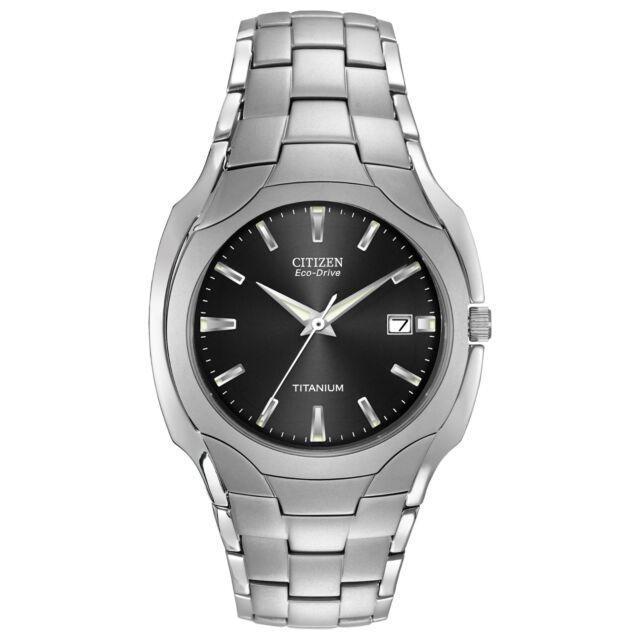 Citizen Eco-Drive Men's BM6560-54H Black Dial Titanium Bracelet 38mm Watch